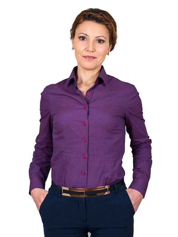 Tlamt Grena Simple : Camasa dama eleganta easy iron bleumarin cu imprimeuri