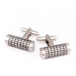 Butoni argintii cu insertii negre