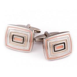 Butoni Unisex - argintii dreptunghiulari cu insertii roz