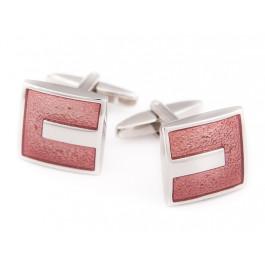 Butoni roz patrati cu insertie argintie