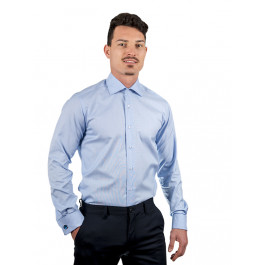 Camasa Business Barbati - Luxury Slim Fit Dobby bleu uni EASY IRON