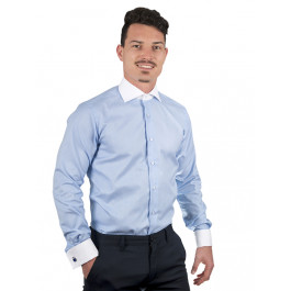 Camasa Business Barbati EASY IRON - Luxury Slim Fit Dobby bleu uni cu guler si mansete albe